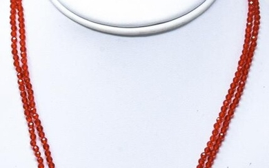 Pair Faceted Ruby Bead & Baroque Pearl Necklaces