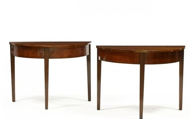 Pair of American Federal Cherry Demilune Tables