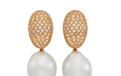 Pair of Rose Gold, Diamond and Semi-Baroque South Sea Cultured Pearl Pendant-Earrings