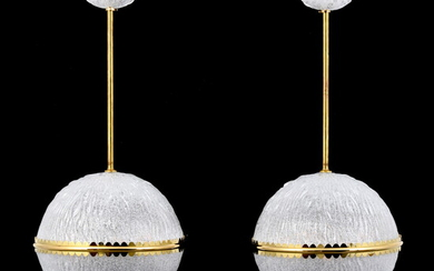 Pair of Sphere Chandeliers, Manner of Barovier & Toso, Murano