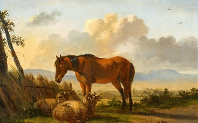Pieter Gerardus van Os - Landscape with Sheep and a Horse