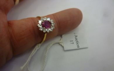 Pink Sapphire and Diamond ring 18ct