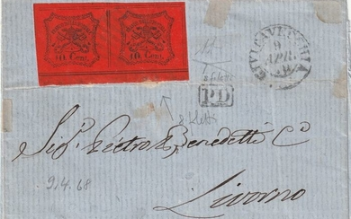 Pontifical State 1867 - 10 cent pair, a piece 8 fillets on letter from Civitavecchia to Livorno - Sassone N. 17