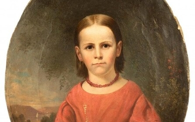 Portrait of Young Girl in Pink Dress