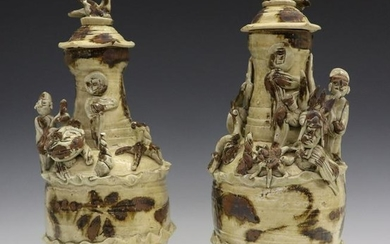 Pr. Of Qingbai Glazed Covered Urns