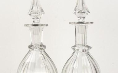 Pr. Signed Libbey Panel Cut Glass Decanters