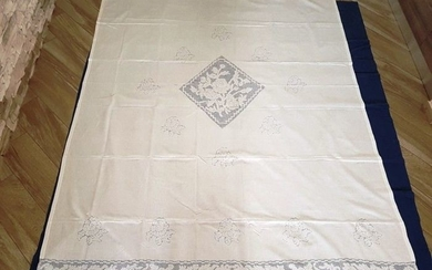Pure linen curtain embroidered embroidery Sicilian by hand - Linen - After 2000