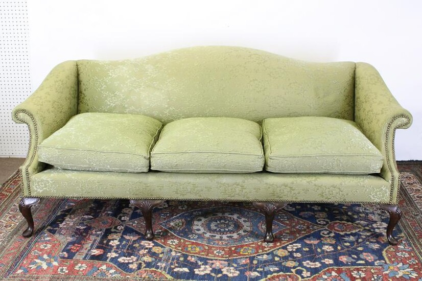 Queen Anne Style Mahogany Camelback Sofa
