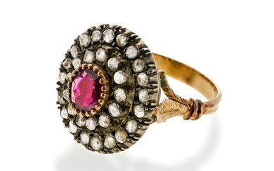 Ring in 14 kt gold, silver, diamonds and rubies