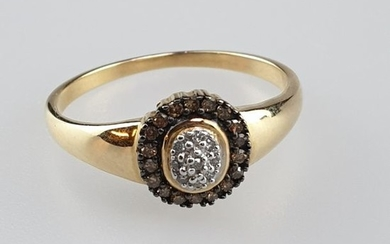 Ring - yellow gold 585, stamped, oval ring...