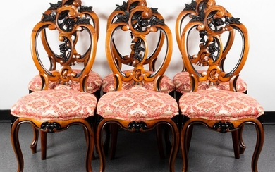 Rococo Style Carved Dining Chairs, Set of 6