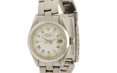 Rolex: A lady's wristwatch of steel. Model Date, ref. 69000. Mechanical movement with automatic winding, cal. 2135. 1983–1984.