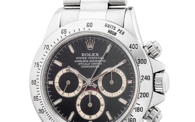 "Rolex, Ref. 16520 A fine stainless steel chronograph wristwatch with ""tropical"" registers and bracelet"