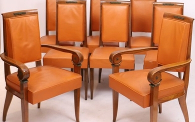 SET OF A PAIR OF MAHOGANY ARMCHAIRS AND...