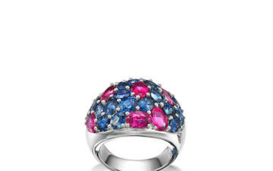 Sapphire and Rubellite Ring