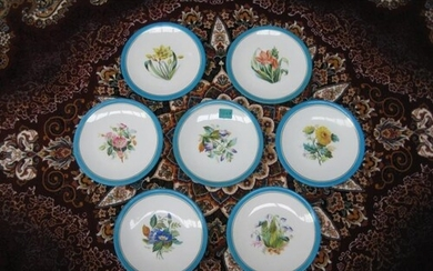 Set of 7 Porcelain Plates with Hand Painted Floral Decoratio...