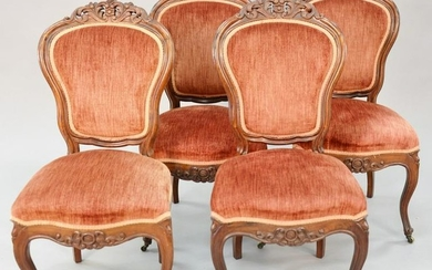 """Set of four Victorian rosewood side chairs, 36"""" h."""
