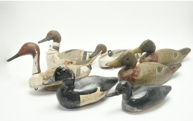 Seven Painted Wood and Carved Back Duck Decoys, Several