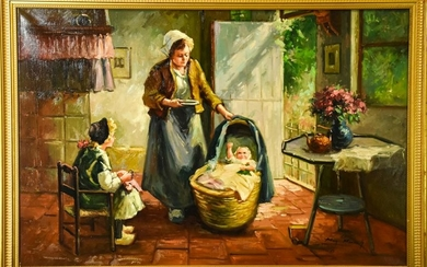 Signed Genre Scene of Woman & Children Painting
