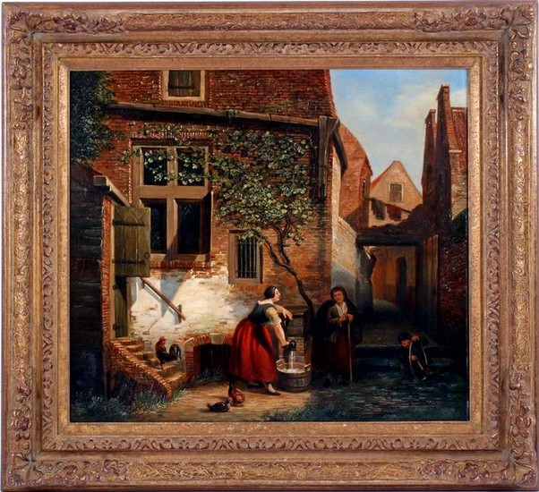 Signed M Savry, Scene in courtyard with woman with pump