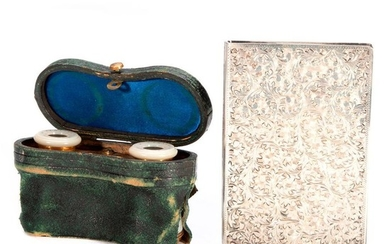 Silver Cigarette Case and Mother of Pearl Opera Glasses.