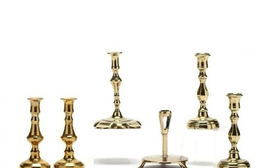 Six Antique Brass Miniature Candlesticks