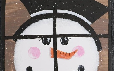 Snowman Face at Window 20th C. Oil on Canvas Painting