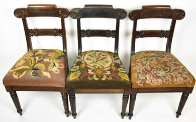 Three Antique 19th C Empire Style Side Chairs