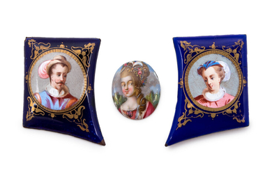 Three French Enamel-on-Copper Plaques