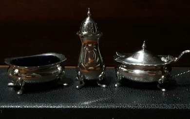 Three combinations of seasoning silverware (4127) - Silver, Glass - U.K. - Mid 20th century