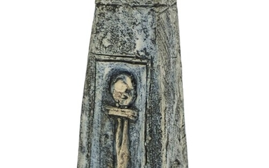 Troika St Ives pottery coffin vase hand painted and incised ...
