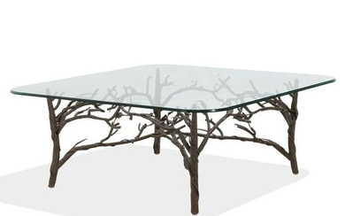 Twig Iron and Glass Coffee Table