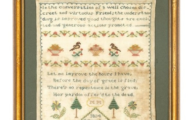 Two Pictorial and Verse Needlework Samplers