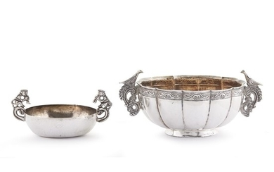 Two Spanish Colonial silver drinking vessels Probably Bolivia or...