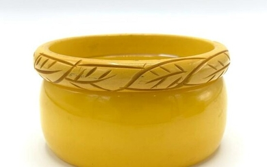 Two Yellow Bakelite Bangles Bracelets Incld Carved