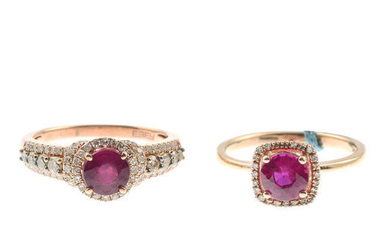 Two glass-filled ruby and diamond cluster rings.