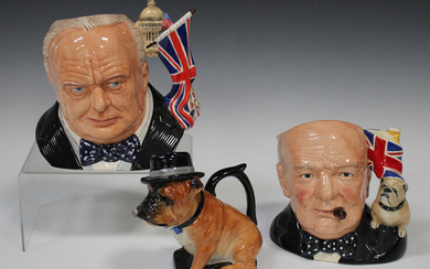 Two large Royal Doulton Winston Churchill character jugs, comprising Jug of the Year 2009, D7298, an