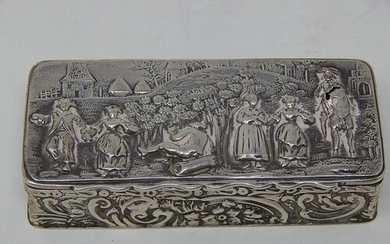 Victorian Silver Snuff Box with Embossed Village Scene: Hall...