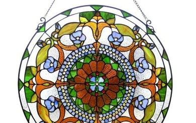 Victorian Tiffany Style Stained Glass Window Panel