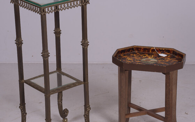 Victorian style metal and glass 2-tier pedestal