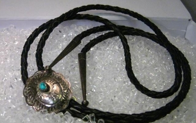 Vintage Sterling Silver Concho with Turquoise Stone