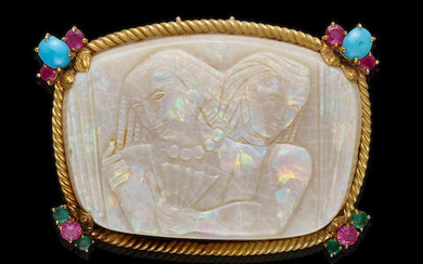 White Opal Carving of Two Egyptian Figures with Turquoise and Ruby