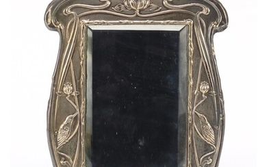 William Neale & Sons, Art Nouveau silver easel mirror with b...