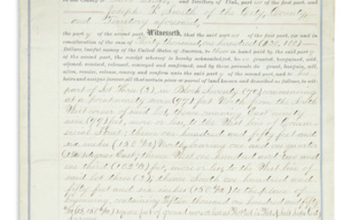 YOUNG, BRIGHAM. Partly printed Document Signed, deed of sale transferring to his nephew Joseph F. Smith a lot of 15,150 square feet in