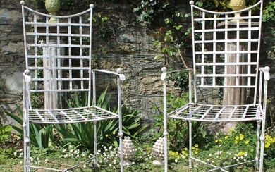 armchairs (2) - Iron (cast/wrought) - Mid 20th century