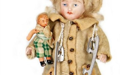dollhouse doll, child with ice-scates and doll, 9 cm