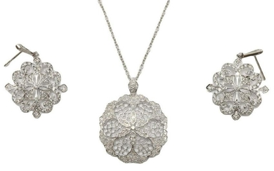 14Kt White Gold Diamond Necklace & Earrings Suite