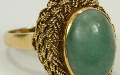 18 KT. YELLOW GOLD JADE ITALIAN RING