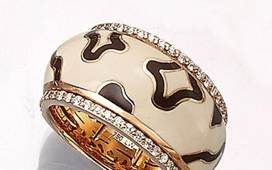 18 kt gold LEO WITTWER ring with enamel and brilliants