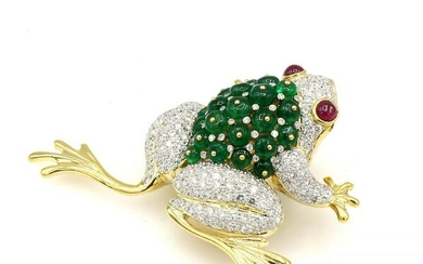 18K Yellow Gold Diamond Emerald and Ruby Frog Brooch